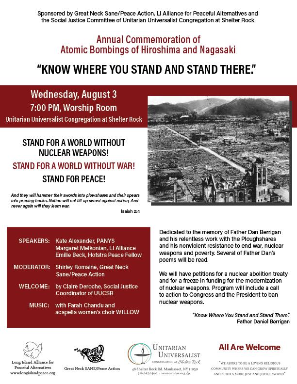Annual Hiroshima Commemoration, August 3 at UUCSR